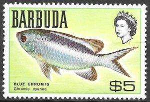 Barbuda $5 Blue Chromis Fish issue of 1968, Scott 28 MNH