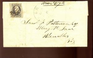 Scott #1 Franklin Imperf Used Stamp on  Interesting Cover (#1-Cvr 22)