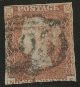 Great Britain Scott 3, Victoria 1p Red Brown on Bluish 1841