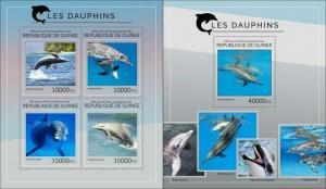 Guinea 2014 dolphins marine life nice klb+s/s MNH