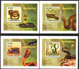 {019} Sao Tome & Principe 2008 Snakes 4 S/S Deluxe MNH**