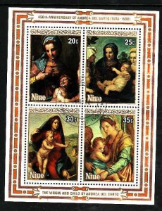 Niue-Sc#304a- id5-used sheet-Paintings-1985-