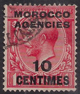 Morocco Agencies 1925 - 34 KGV 10ct on 1d Scarlet used SG 203 ( R737 )