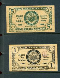 2 Magic City Jubilee 1940 Wooden Nickels VINTAGE Poster Stamp Souviners (L214)