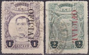 Mexico #O134a, O135  F-VF Used  CV $10.00 (A19375)