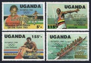 Uganda 458-462,MNH.Michel 440-443,Bl.51. Olympics Los Angeles-1984.Winners.