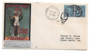 US 1932 Olympics Summer Opening Day Olympic Village Cover