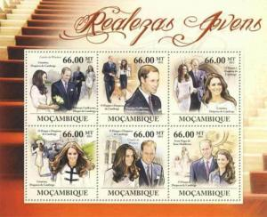 Mozambique MNH S/S Young Royals William & Kate 2011 6 Stamps
