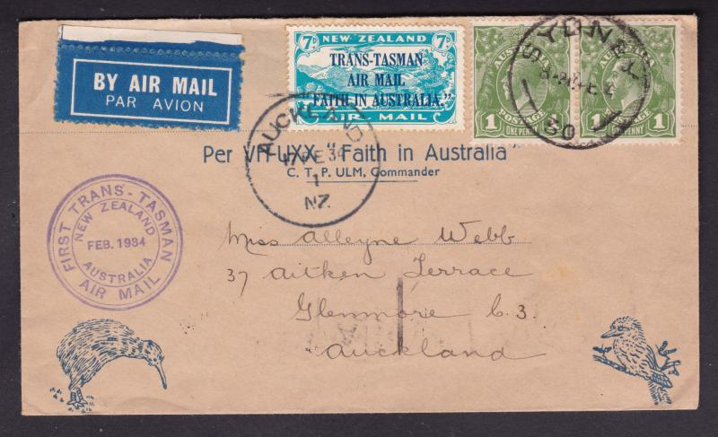 New Zealand a FFC from 1934 NZ to Aust.or reverse ??