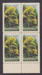 Canal Zone, 1971 Christmas Tuberculosis Seal, Sheet Margin Block of 4, VF, MNH