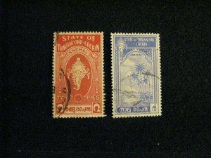 India-Travancore-Cochin #16-17 used  a209 1223