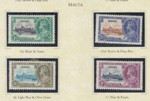 MALTA, 1935 Silver Jubilee set of 4, heavy hinged.