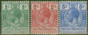 British Honduras 1915-16 Security set of 3 SG111-113 V.F Very Lightly Mtd Mint