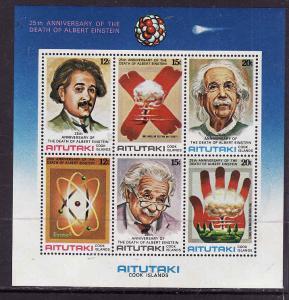 Aitutaki-Sc#191B-unused NH sheet-Albert Einstein-Space-1980-