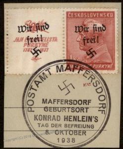 German Sudetenland Maffersdorf Mi121Zfw Wir Sind Frei Purkyne Expertized 91956