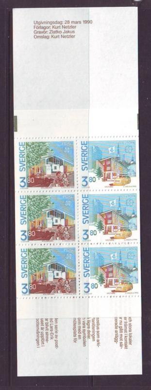 Sweden Sc 1812a 1990 Europa Post Offices stamp bklt pane NH