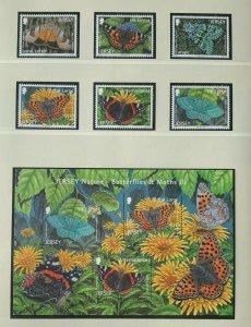 JE82) Jersey 2012 Butterflies & Moths set of 6 + M/S MUH