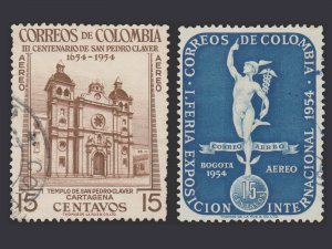 COLOMBIA 1954. AIRMAIL STAMP. SCOTT # C258 -  C259. USED