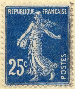 FRANCE - 1907 - Yv.140/Mi.119ax 25c bleu foncé Type 1A - Obl. TB (superbe)