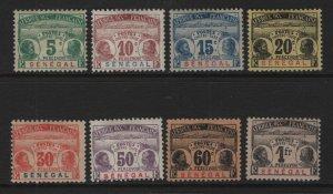 SENEGAL, J4-J11, (8)SET, HINGE REMNANT, 1906, POSTAGE DUE STAMPS