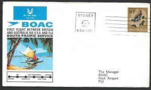 AUSTRALIA 1967 BOAC first flight cover Sydney to Nadi, Fiji................52280
