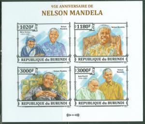 BURUNDI NELSON MANDELA 95TH BIRTH ANNIVERSARY SHEET OF 4 IMPERF