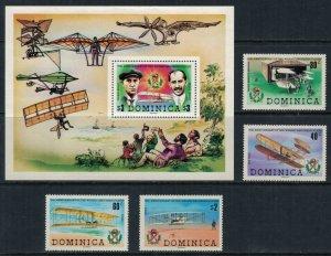 Dominica #674-8* NH  CV $3.80  Wright Brothers set & Souvenir sheet