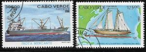 CAPO VERD   CAV-111 (2) USED SHIP STAMPS reduced from 0.25 to 0.20