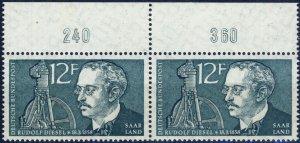 SARRE / SAARGEBIET - 1958 Mi.432 pair with border numerals 240 & 360 **