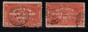 Canada Sc E4-5 1930-32  20c henna brown Special Delivery stamps used