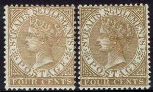 STRAITS SETTLEMENTS 1883 QV 4C BOTH SHADES WMK CROWN CA