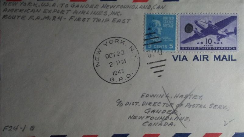 SCOTT # C 27 10 CENT AIR MAIL AND # 810  POSTAL HISTORY 1945