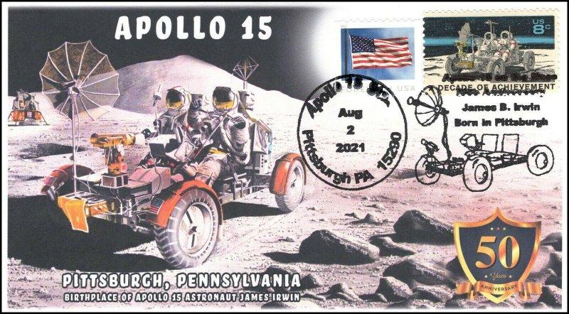 21-212, 2021, Apollo 15, 50th Anniversary, Event Cover, Pictorial Postmark,