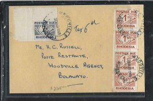 RHODESIA  COVER (P0611B) 1969 STAMPLESS COVER  POSTAGE DUE 1DX4+2D