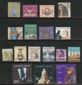 EGYPT Scott 600-616 Used stamp set 1964-1967
