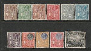 Malta 1930 defs Postage & Revenue, short set to 1/- MM SG 193/203