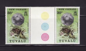Tuvalu 22 Gutter Pair MNH Marine Life, Coins on Stamps