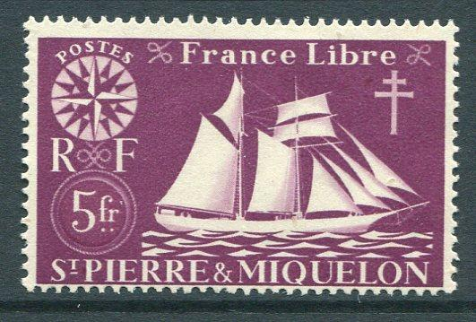 St Pierre & Miquelon 311 Mint NH 1942 5fr Fishing Schooner. NO per item S/H