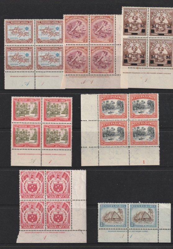 Samoa x 7 pre decimal plate blocks