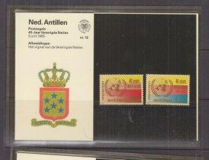 NETHERLANDS ANTILLES,1985 United Nations pair, Folder 13