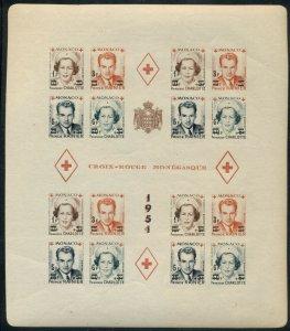 MONACO; 1951 MNH Red Cross Block - Sc 291b in Complete Sheetlet of 4 - Imperf