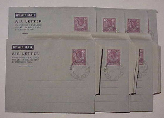RHODESIA NORTHERN 10 AIR LETTERS 1953 CHINGOLA