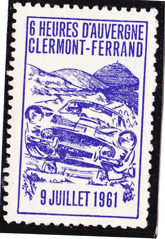 1960 CINDERELLA POSTER STAMP france rally Clermont Ferrand car no gum