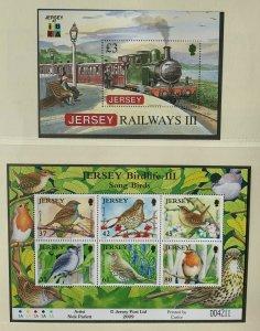 JE108) Jersey 2009 Railways Part III IBRA M/S + Birdlife Part III Sheetlet MUH