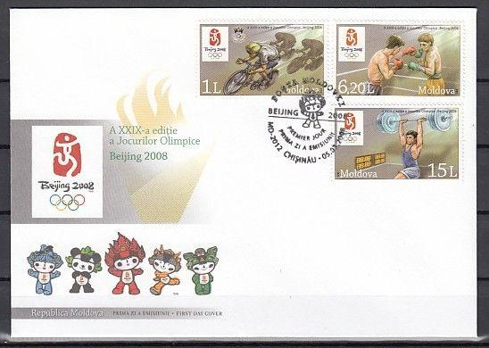 Moldova, Scott cat. 581-583. Beijing Olympics issue on a First day cover.