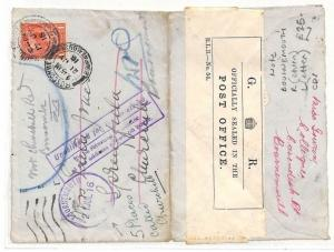 GB Hants *BOSCOMBE BOURNEMOUTH* Return Letter RESEALED {samwells}PTS 1916 AK220