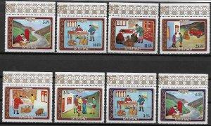 1973 Bhutan 155-155G Bhutanese Mail Service MNH C/S of 8