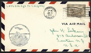 Doyle's_Stamps: Canadian Postal History: Lethbridge-Calgary 1st Flight Cover