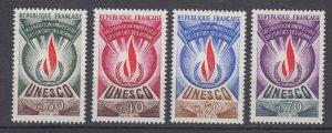 J29327, 1969-71 france set mnh #2o9-12 unesco