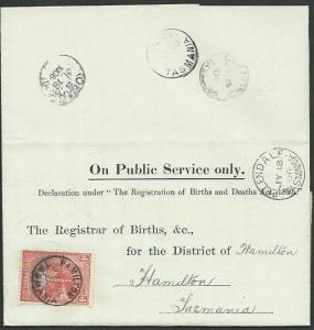 TASMANIA 1906 Birth notice ELLENDALE cds to Hamilton T perfin 1d...........58977